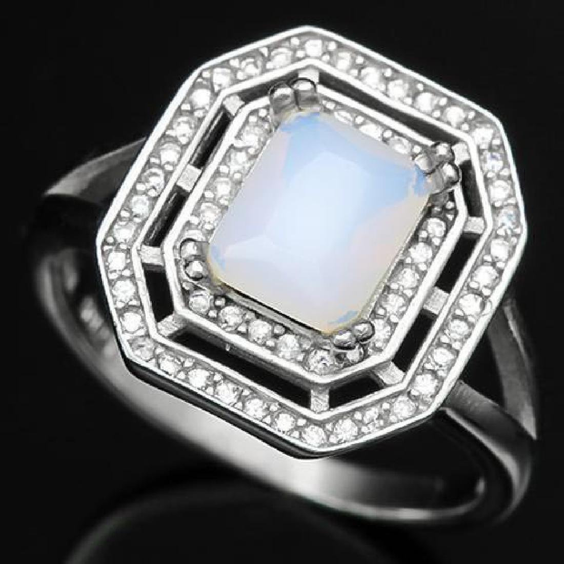 1 1/4 CARAT CREATED FIRE OPAL & DIAMOND 925 STERLING SI
