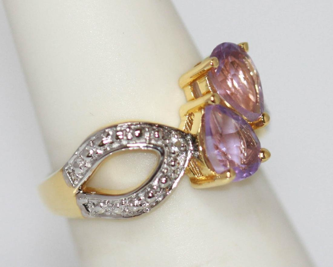 1.80 ctw 14K Gold Plated silver amethyst Ring - 2