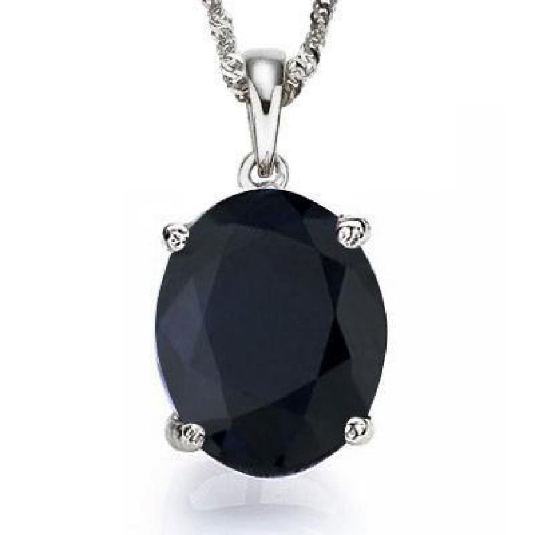 0.95 CTW BLACK SAPPHIRE 10K SOLID WHITE GOLD OVAL SHAPE