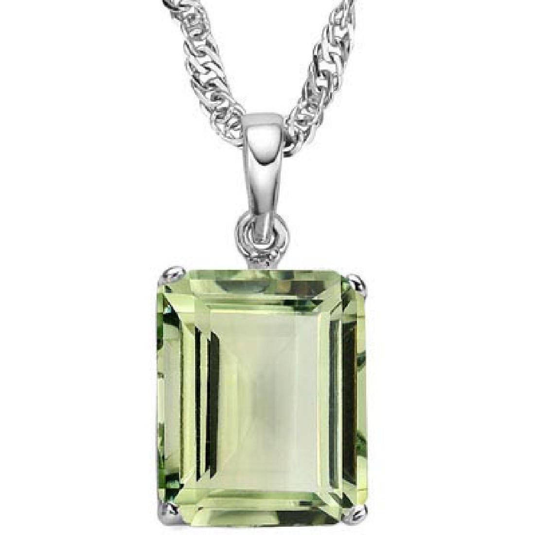 1.0 CTW GREEN AMETHYST 10K SOLID WHITE GOLD SQUARE SHAP