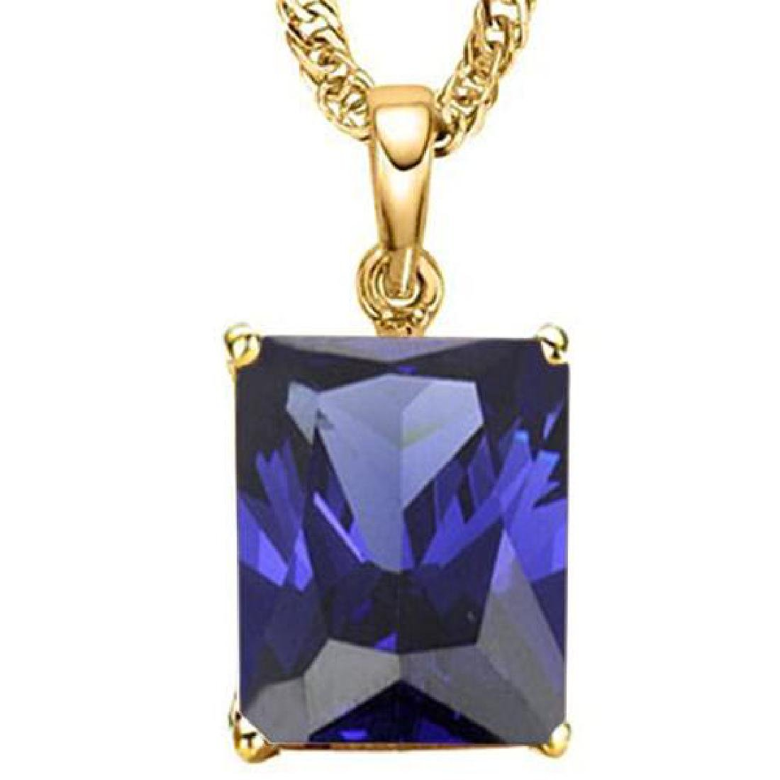 1.65 CTW LAB TANZANITE 10K SOLID YELLOW GOLD OCTWAGON S