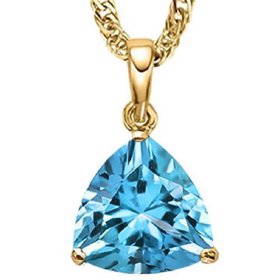 0.95 CTW SKY BLUE TOPAZ 10K SOLID YELLOW GOLD TRILLION