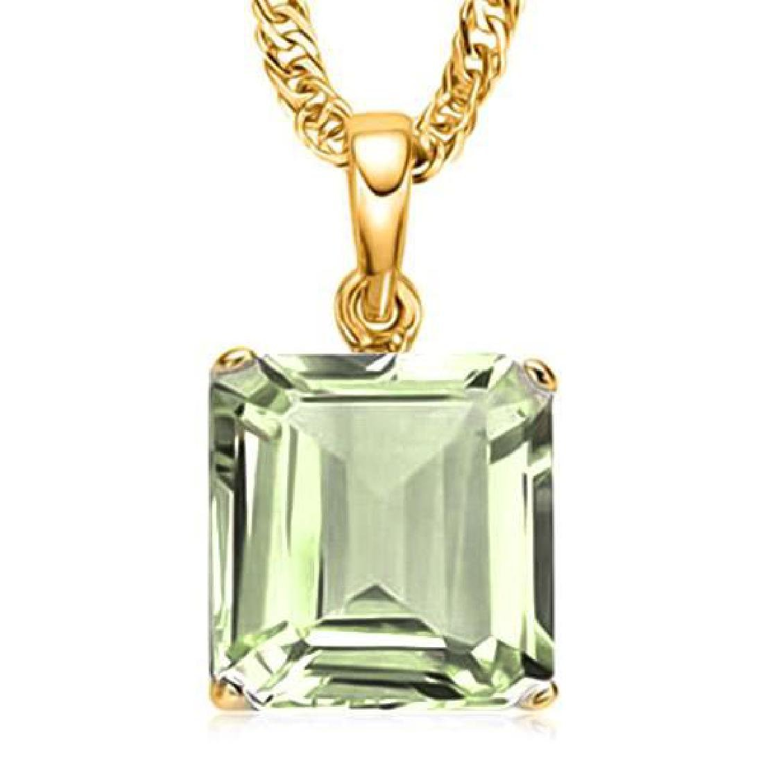 1.0 CTW GREEN AMETHYST 10K SOLID YELLOW GOLD SQUARE SHA