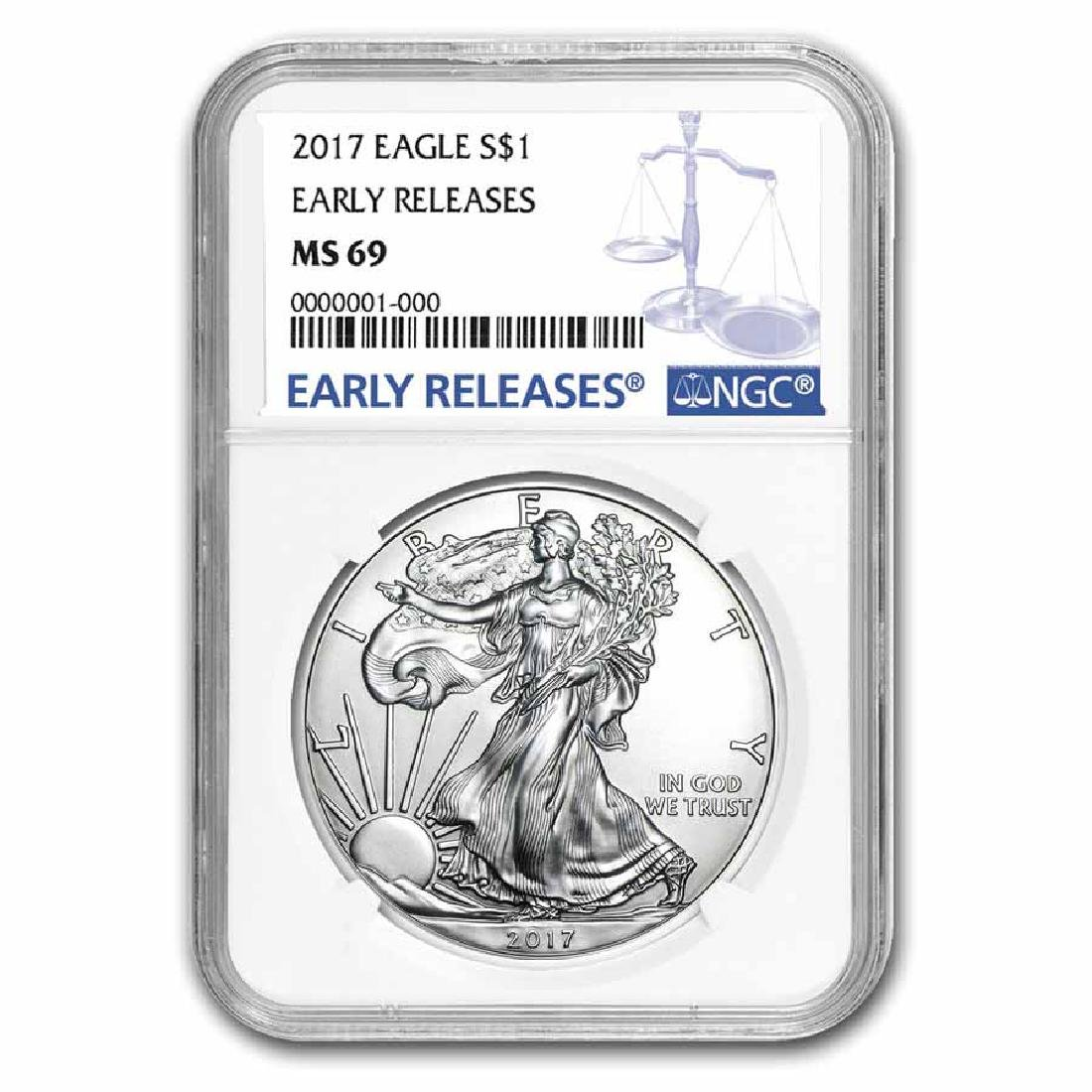 Certified Uncirculated Silver Eagle 2017 MS69 NGC Early