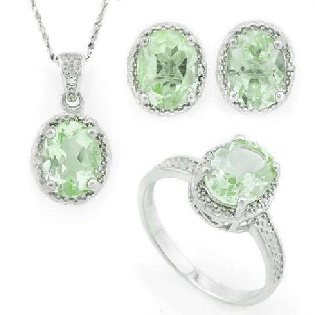 6 2/5 CARAT GREEN AMETHYST  DIAMOND 925 STERLING SILVER