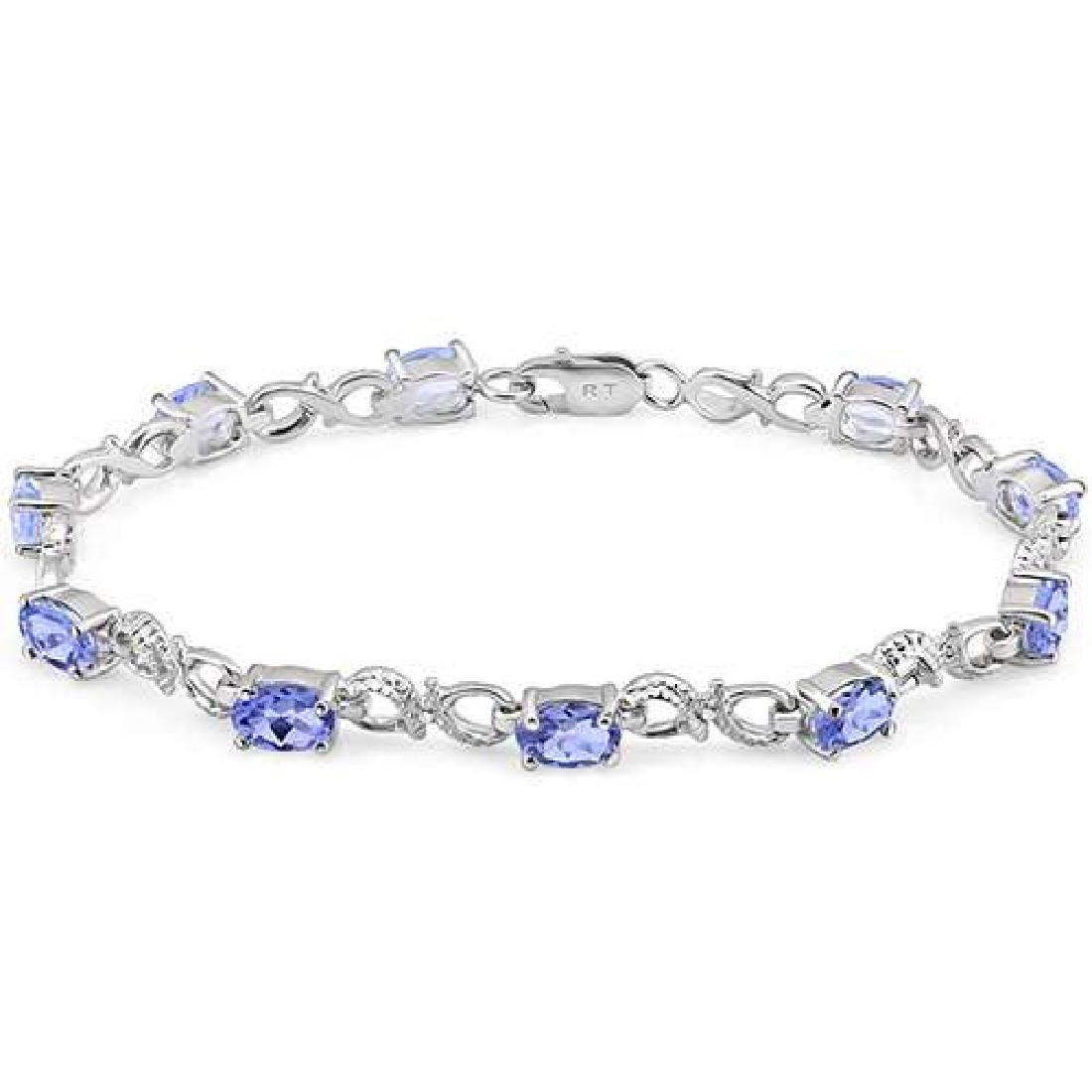 4 1/5 CTW TANZANITE & DIAMOND 925 STERLING SILVER TENNI