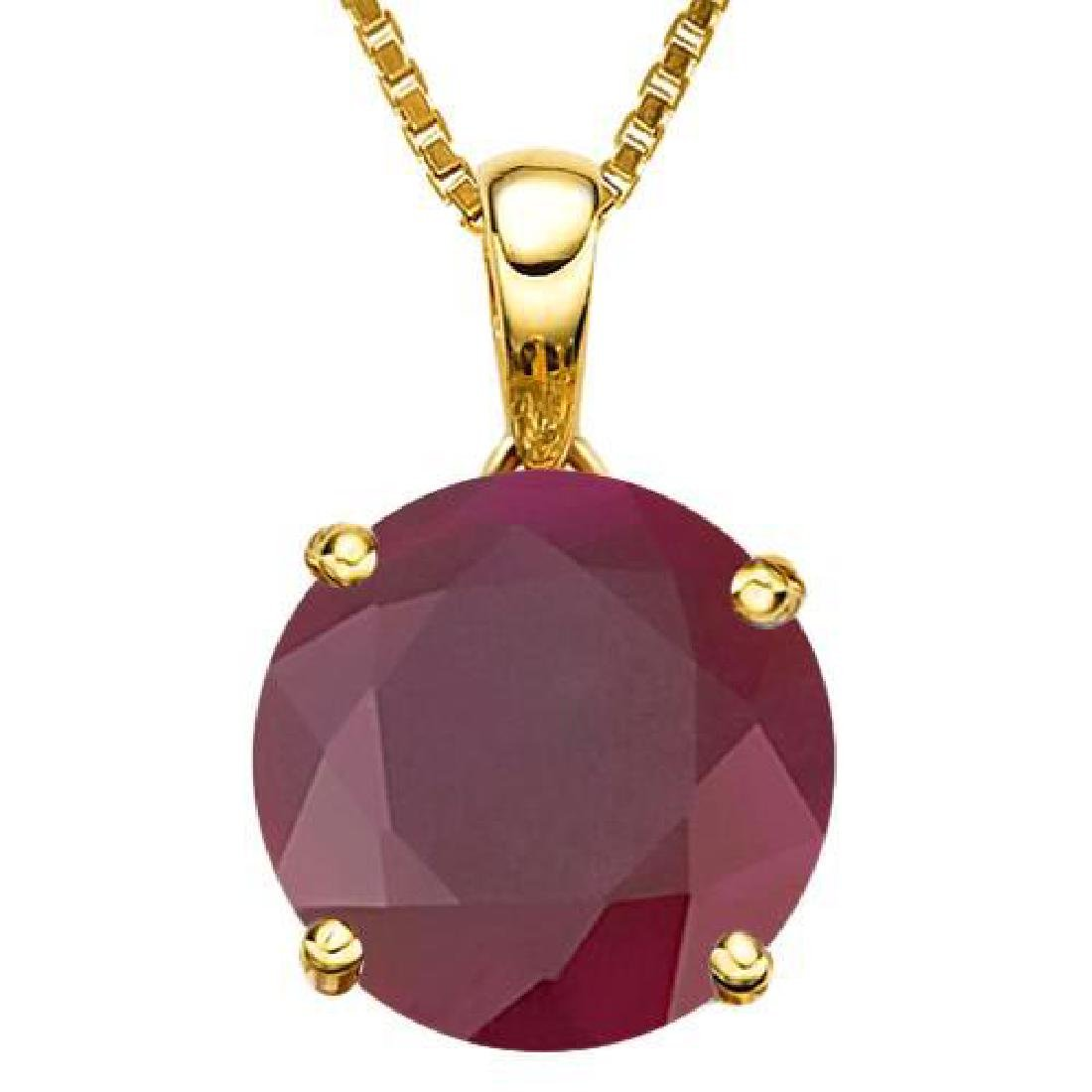 1.07 CTW RUBY 10K SOLID YELLOW GOLD ROUND SHAPE PENDANT