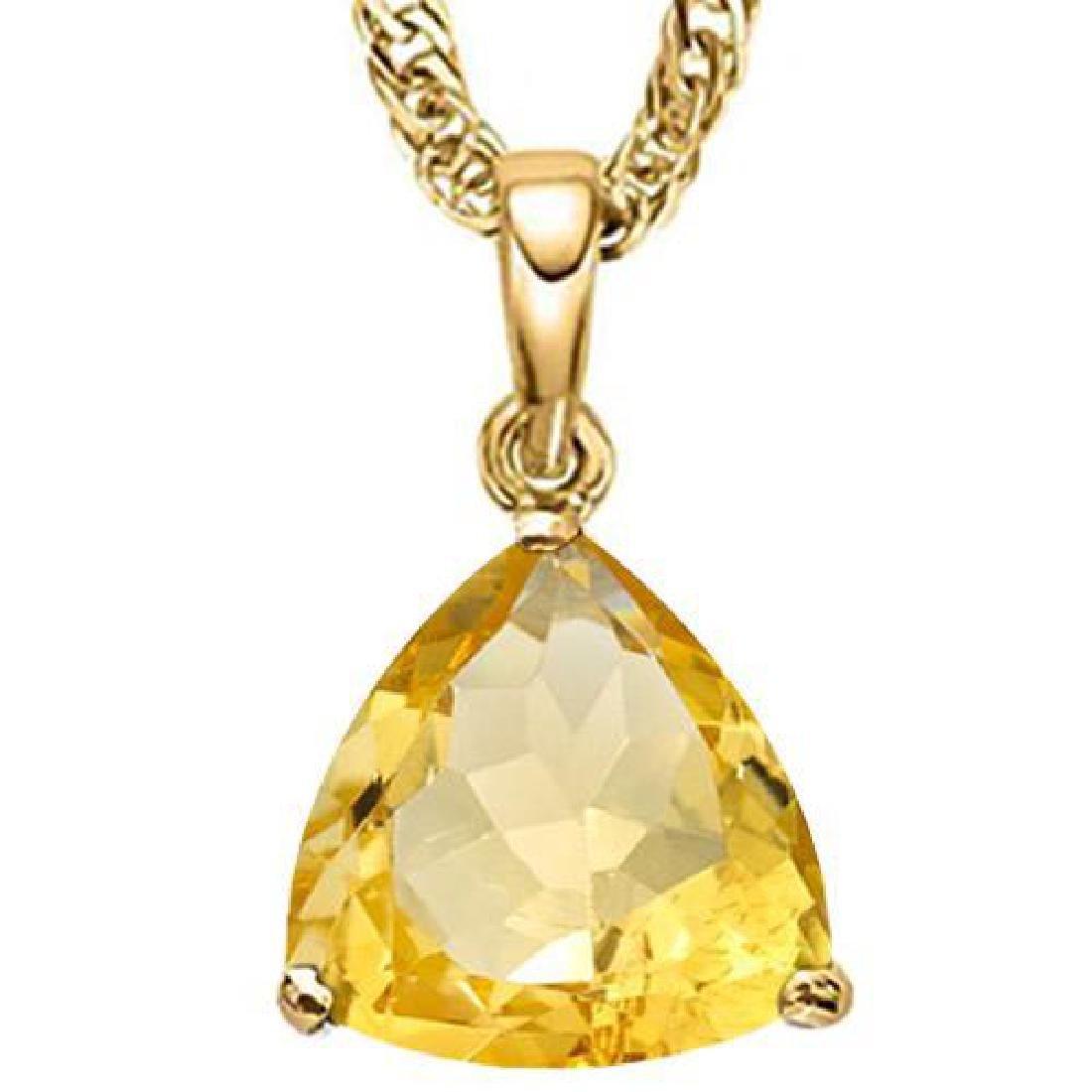 0.7 CTW CITRINE 10K SOLID YELLOW GOLD TRILLION SHAPE PE