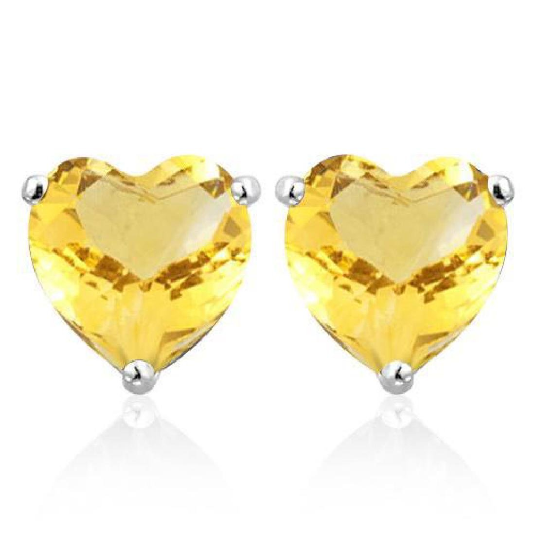 1.4 CTW CITRINE 10K SOLID WHITE GOLD HEART SHAPE EARRIN