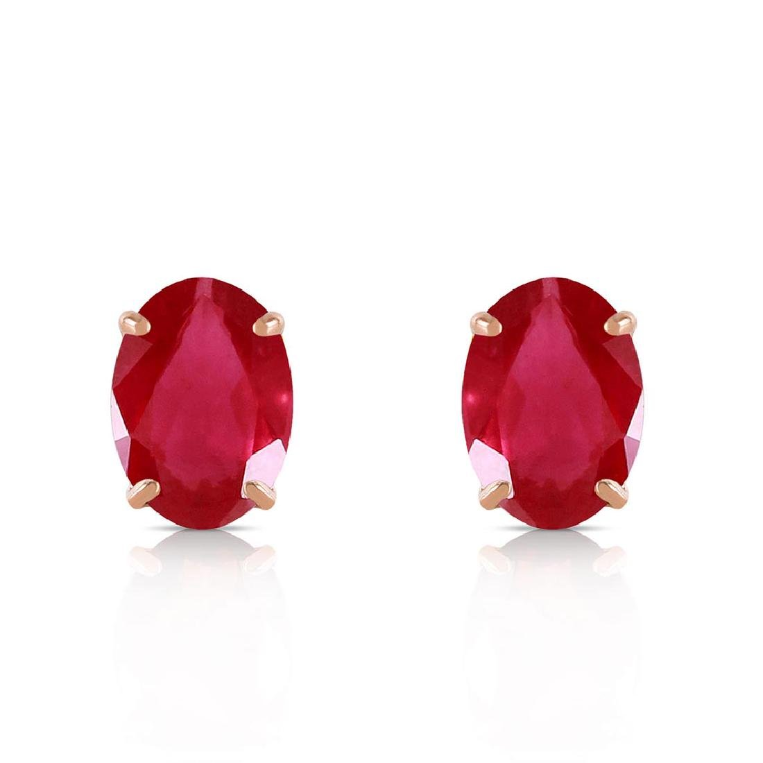 1.8 Carat 14K Solid Gold Stud Earrings Natural Ruby - 2