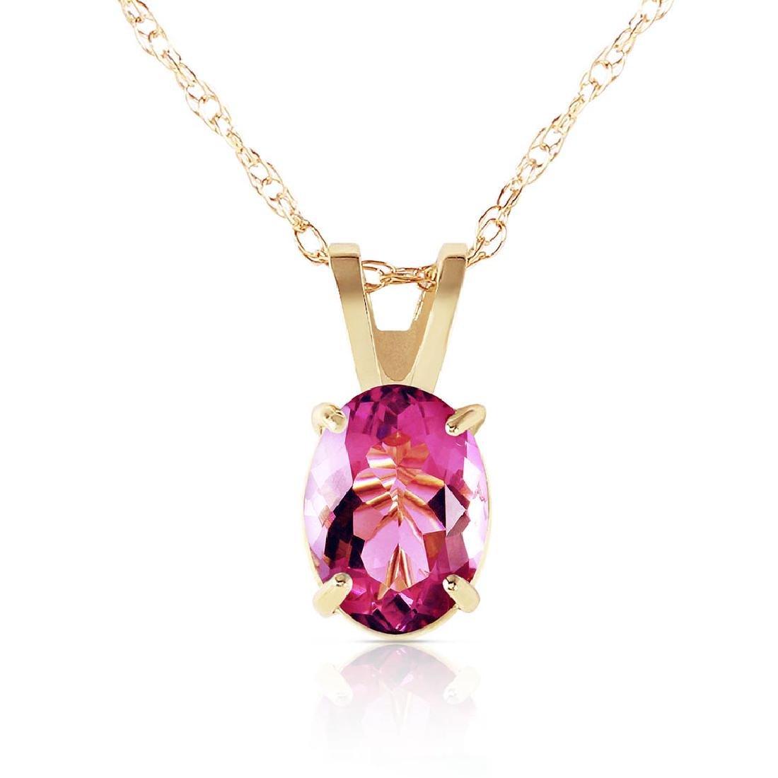 0.85 Carat 14K Solid Gold Heart Asks Mind Pink Topaz Ne