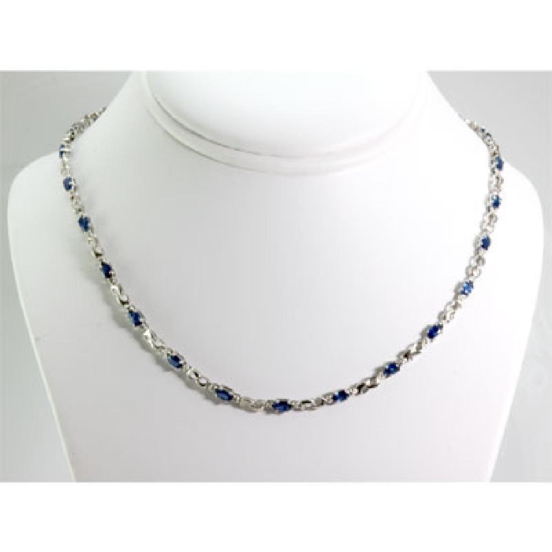 Genuine 4.62 ctw Tanzanite Diamond Necklace10k W/Y Gold