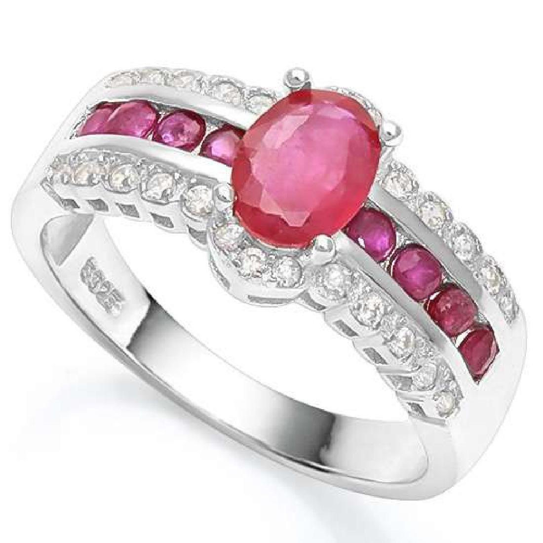 1.56 CTW AFRICAN RUBY  & CREATED WHITE SAPPHIRE 925 STE