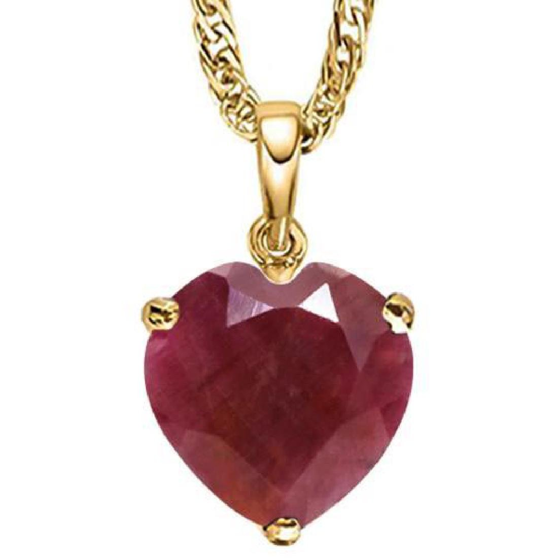 0.9 CTW RUBY 10K SOLID YELLOW GOLD HEART SHAPE PENDANT