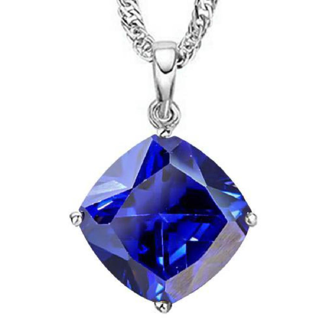 1.6 CTW LAB TANZANITE 10K SOLID WHITE GOLD CUSHION SHAP