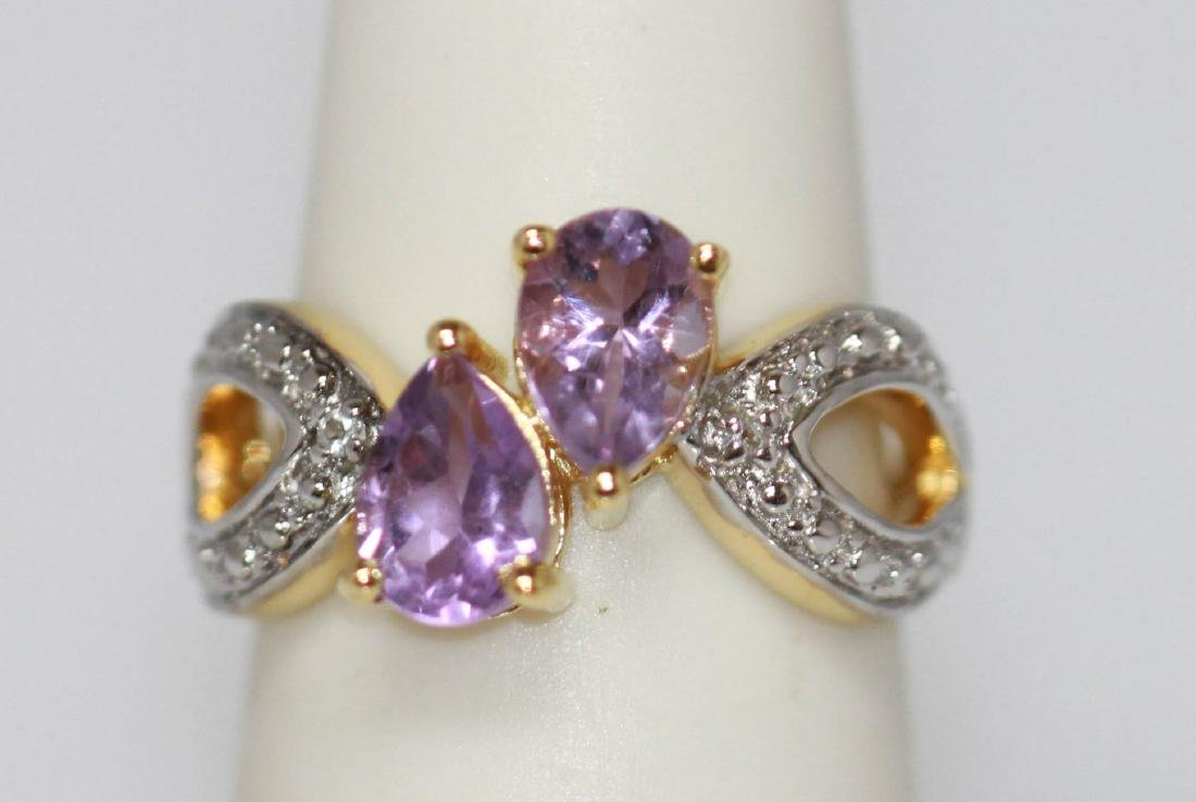 1.80 ctw 14K Gold Plated silver amethyst Ring