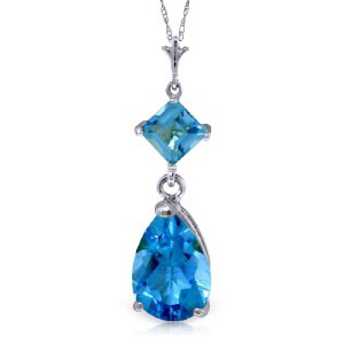 2 CTW 14K Solid White Gold Zenlike Blue Topaz Necklace
