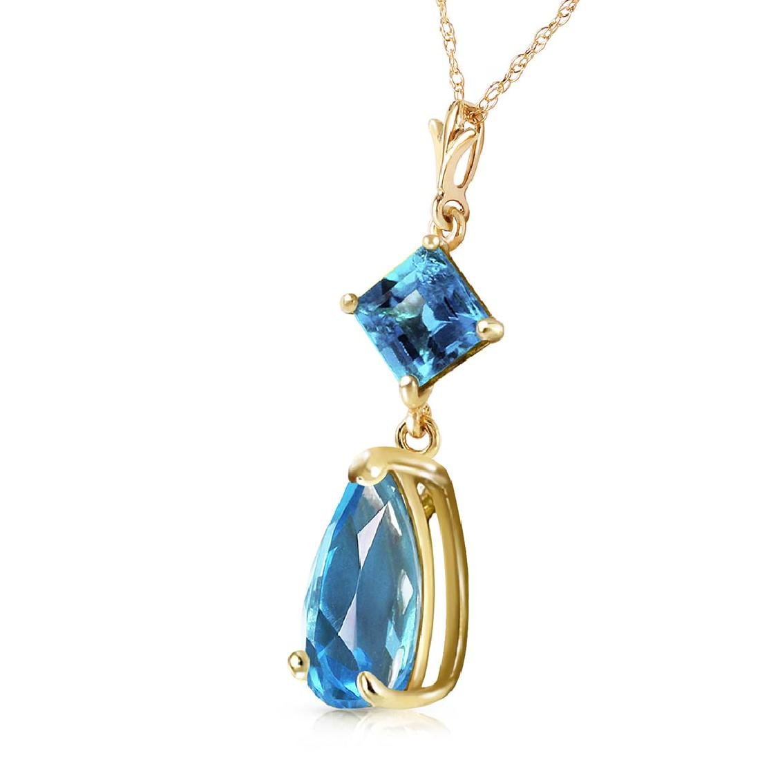 2 Carat 14K Solid Gold To Love Again Blue Topaz Necklac - 2