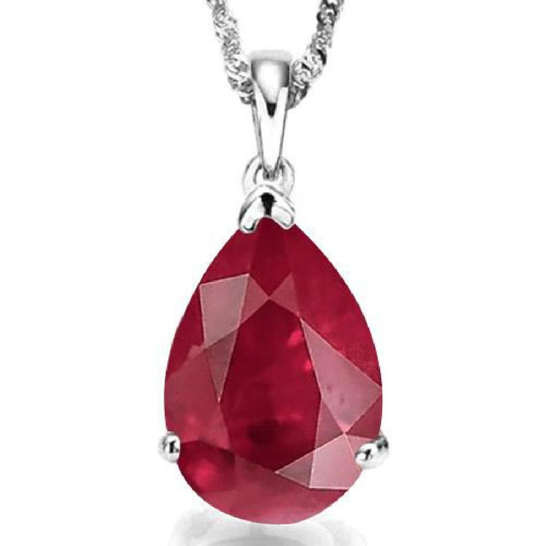 1.0 CTW RUBY 10K SOLID WHITE GOLD PEAR SHAPE PENDANT