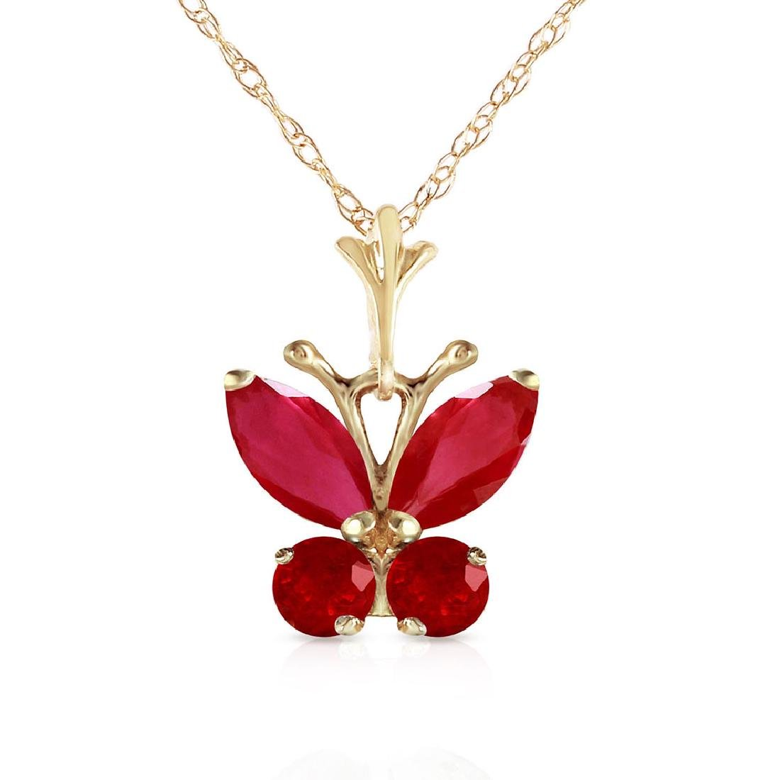0.6 Carat 14K Solid Gold Butterfly Necklace Natural Rub