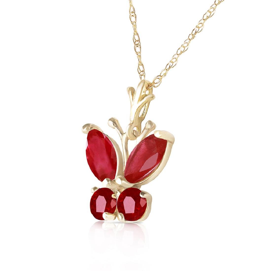 0.6 Carat 14K Solid Gold Butterfly Necklace Natural Rub - 2