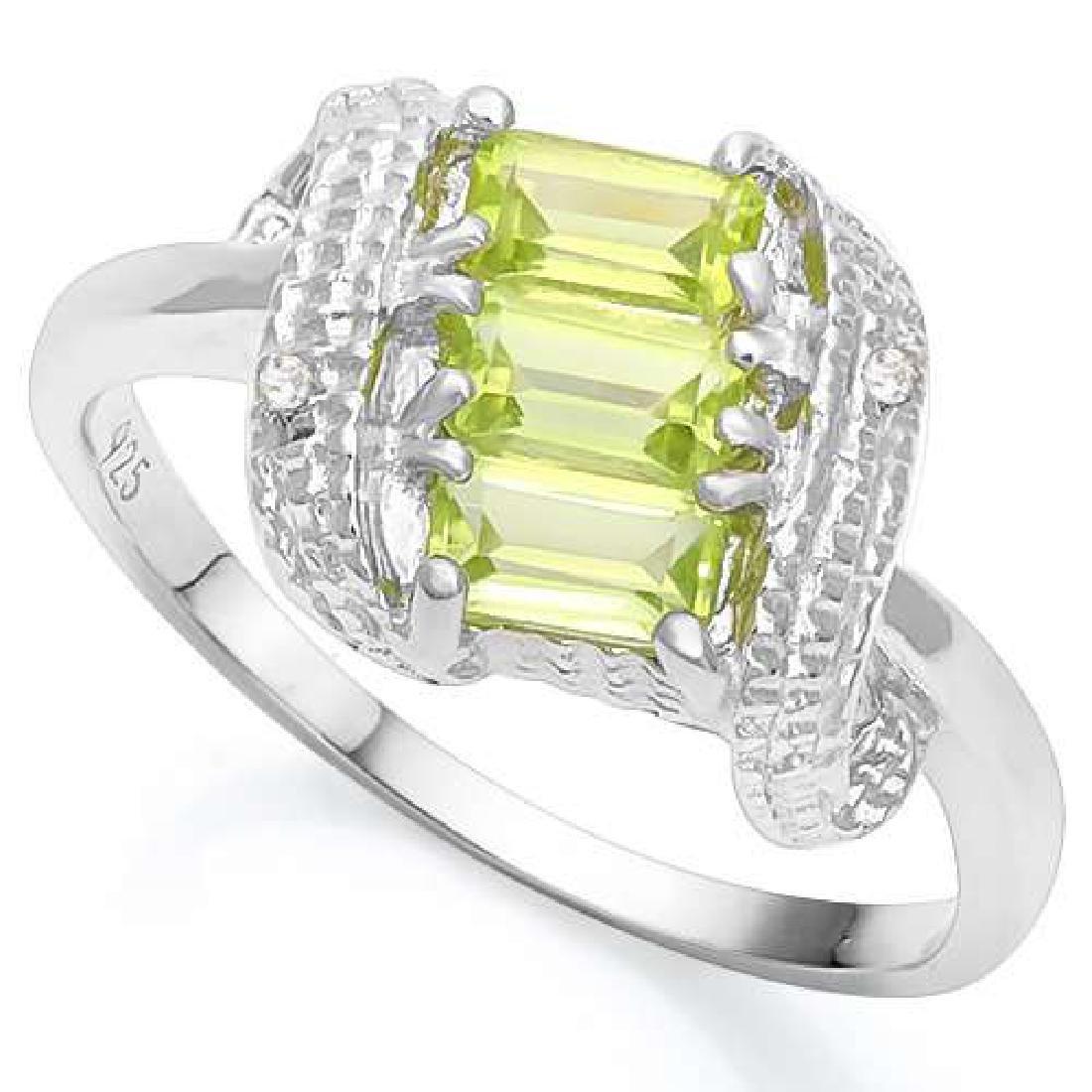 1.00 CTW PERIDOT & DIAMOND 925 STERLING SILVER RING