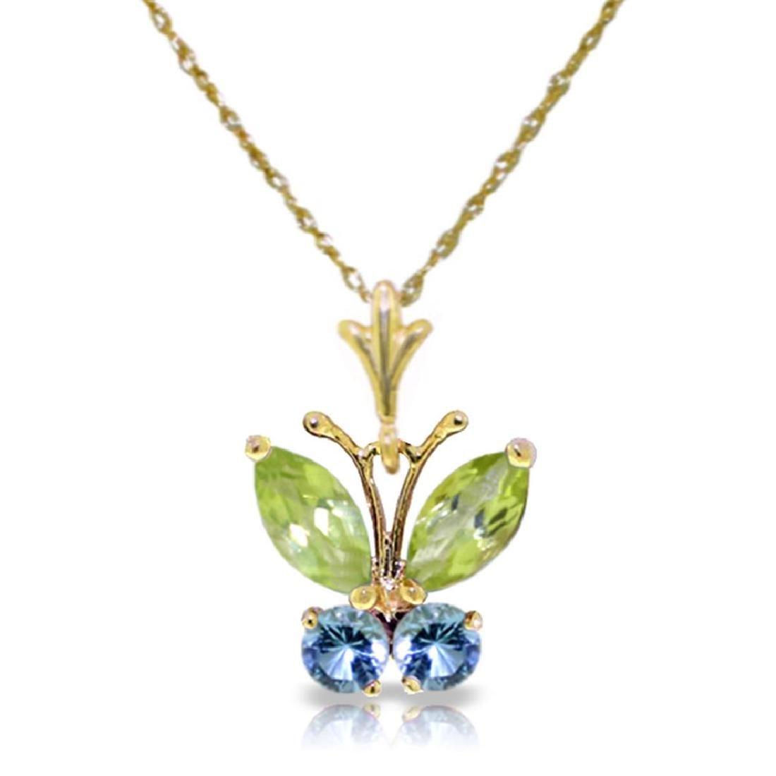 0.6 Carat 14K Solid Gold Butterfly Necklace Blue Topaz