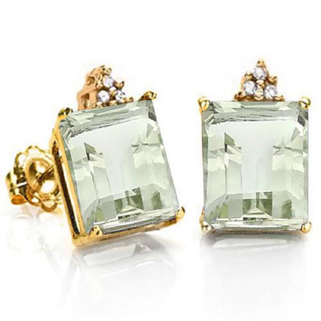 1.92 CARAT GREEN AMETHYST 10K SOLID YELLOW GOLD OCTAGON