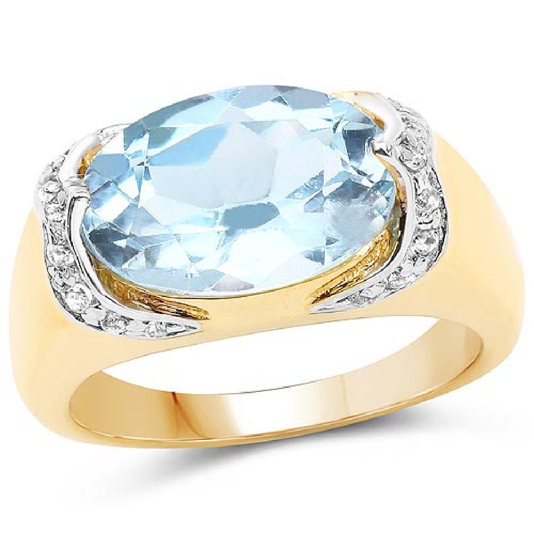 14K Yellow Gold Plated 6.56 CTW Genuine Blue Topaz and