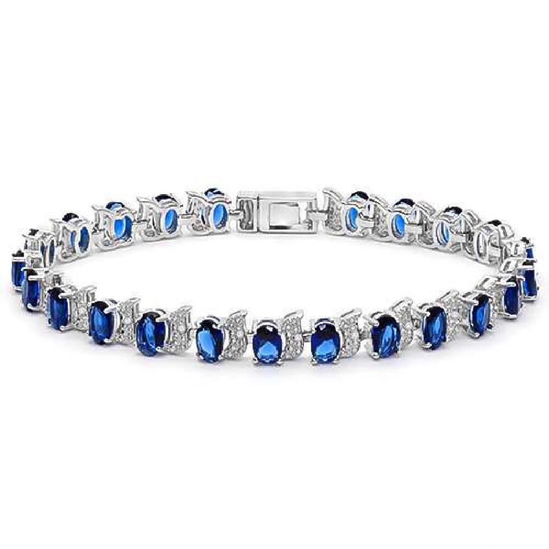 8.50 CTW CREATED BLUE SAPPHIRE & CREATED DIAMOND 925 ST