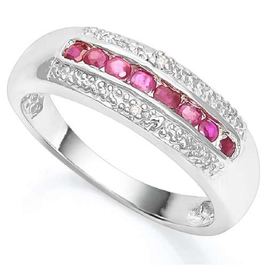 2/5 CTW RUBY & DIAMOND 925 STERLING SILVER RING