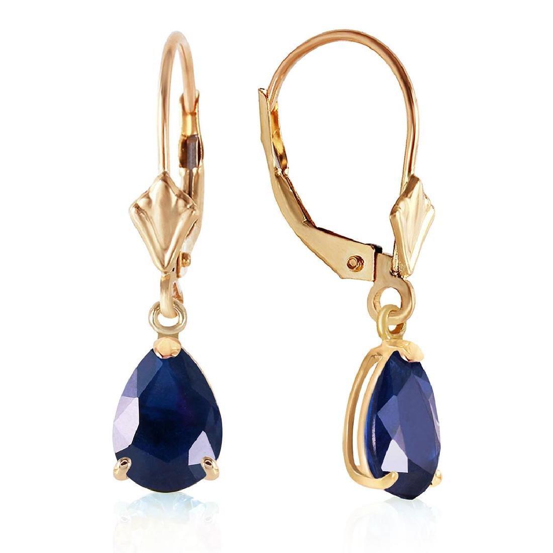 3 Carat 14K Solid Gold Leverback Earrings Sapphire