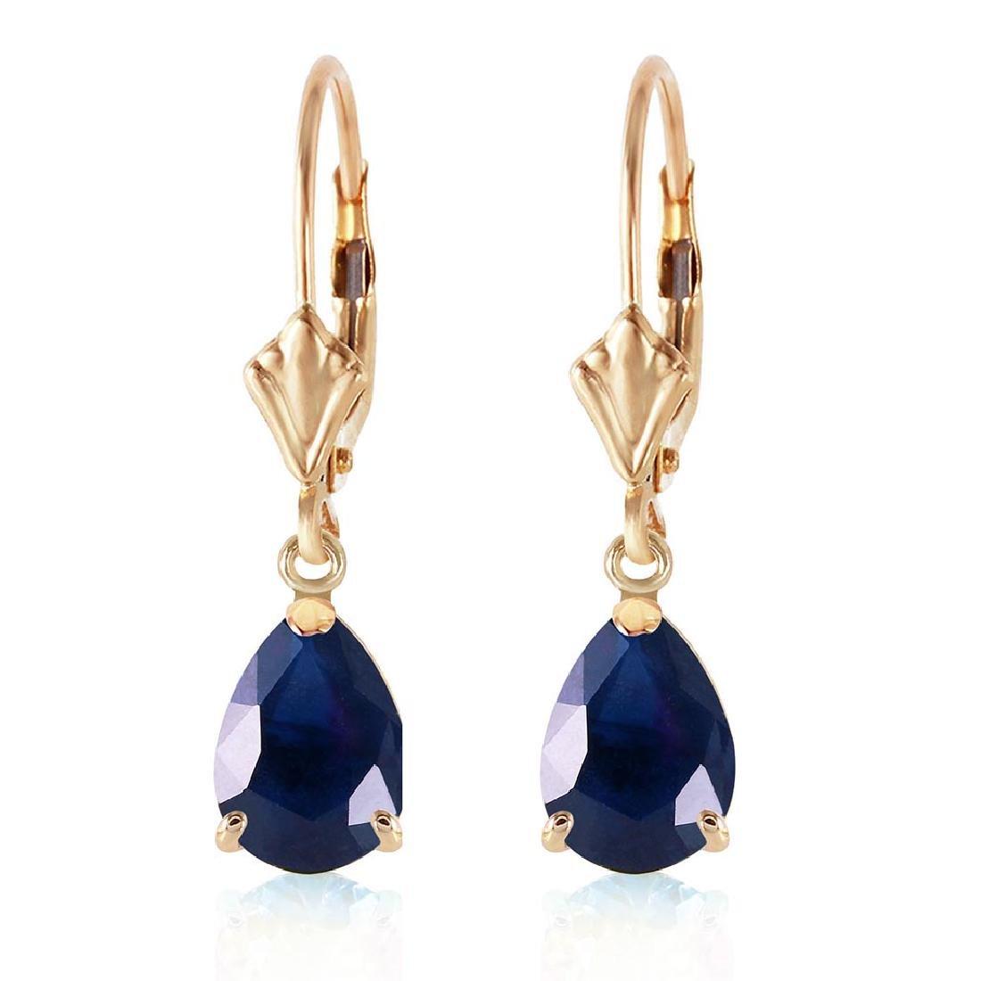 3 Carat 14K Solid Gold Leverback Earrings Sapphire - 2