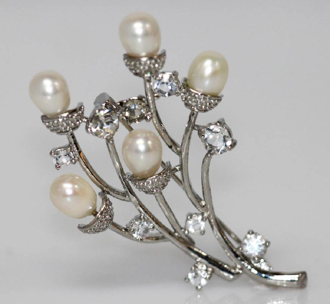 WHITE PEARL CZ BROOCH AUTHENTIC PHILIPPINE PEARL .925 S