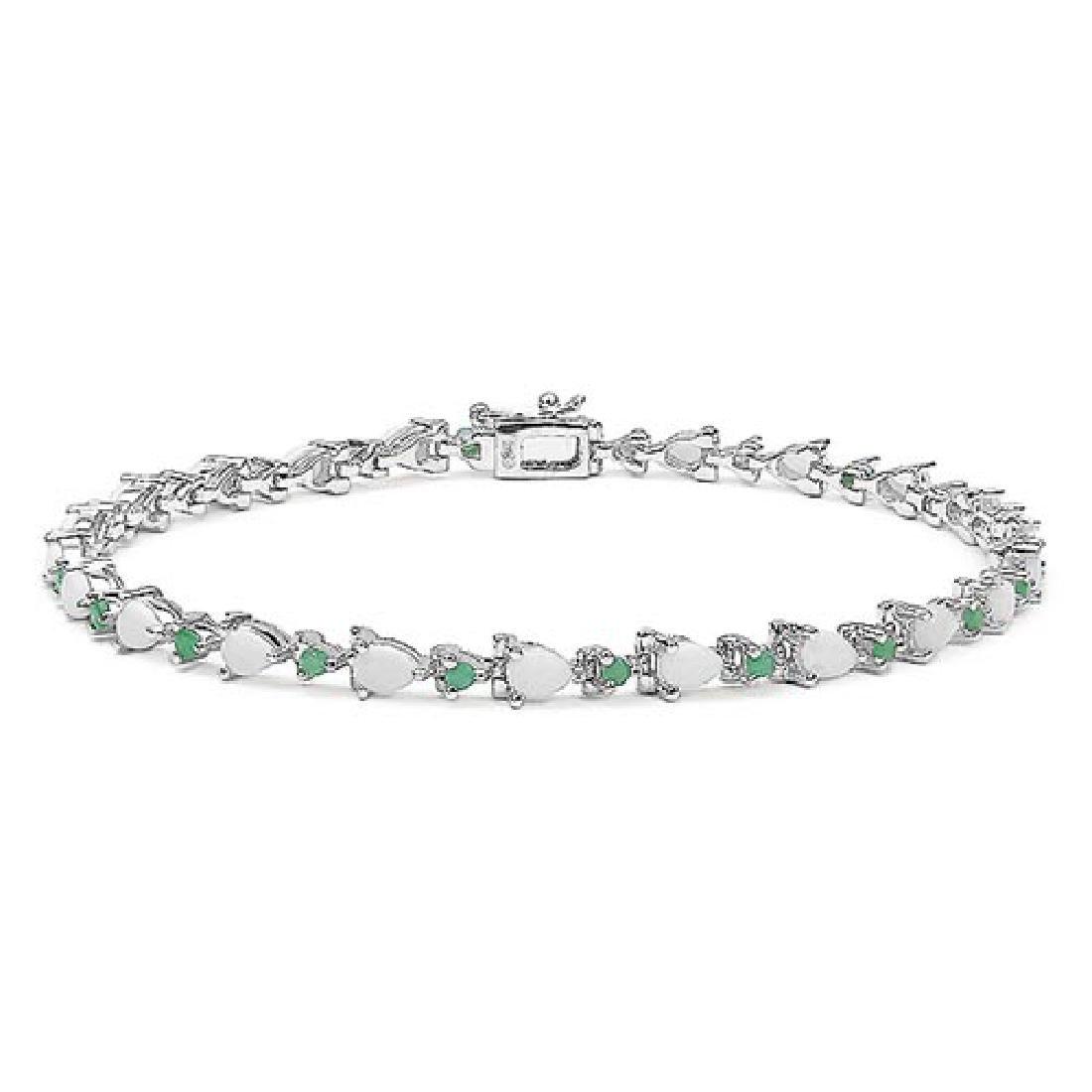 2.88 CTW Genuine Opal & Emerald .925 Sterling Silver Br