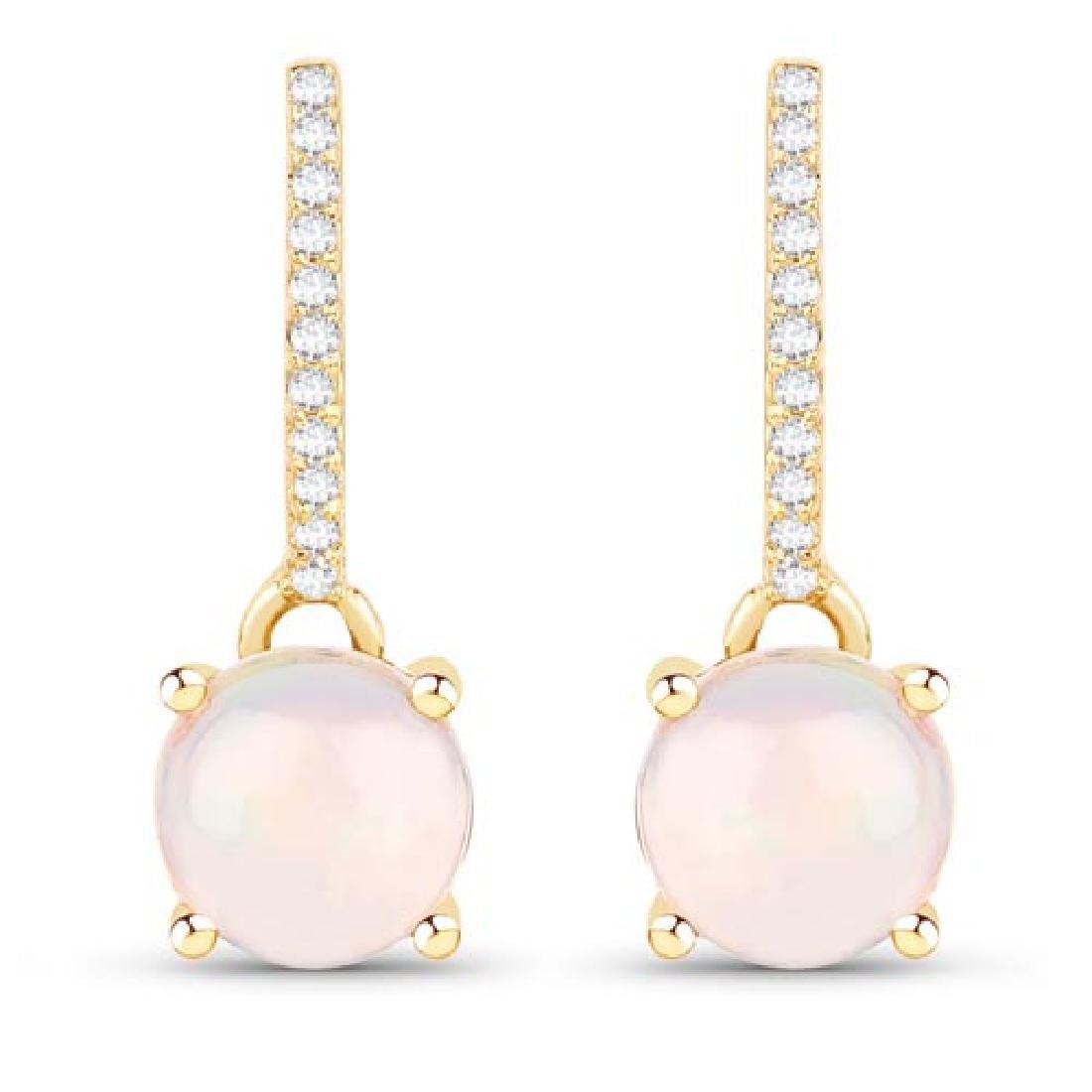 1.07 CTW Genuine Ethiopian Opal and White Diamond 14K Y