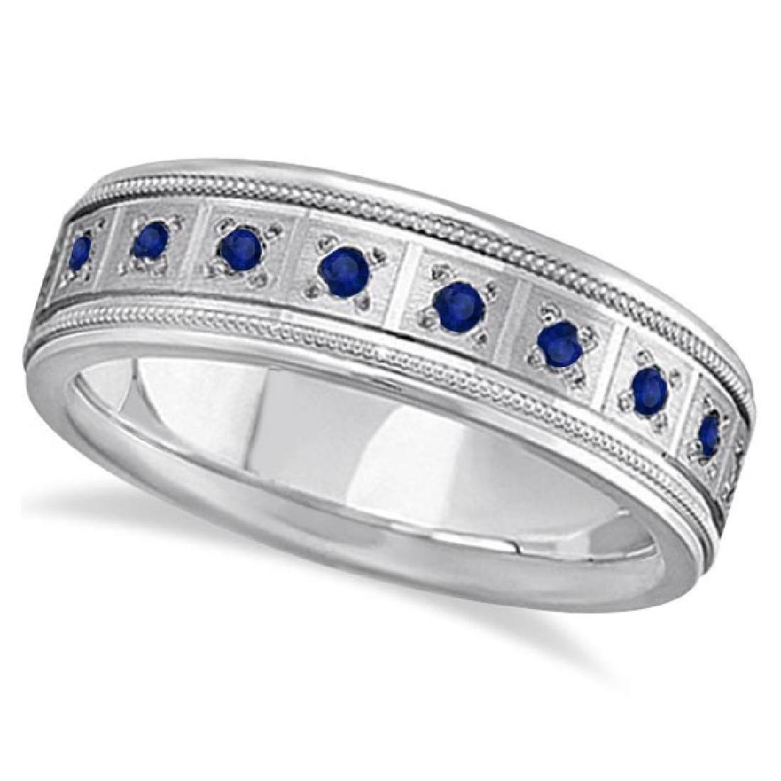 Blue Sapphire Ring for Men Wedding Band 14k White Gold