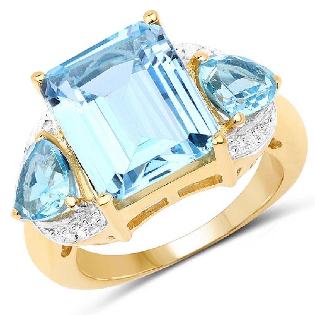 14K Yellow Gold Plated 8.80 CTW Genuine Blue Topaz .925