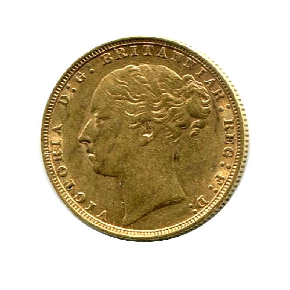 Great Britain Gold Sovereign 1871-1885 Young Head