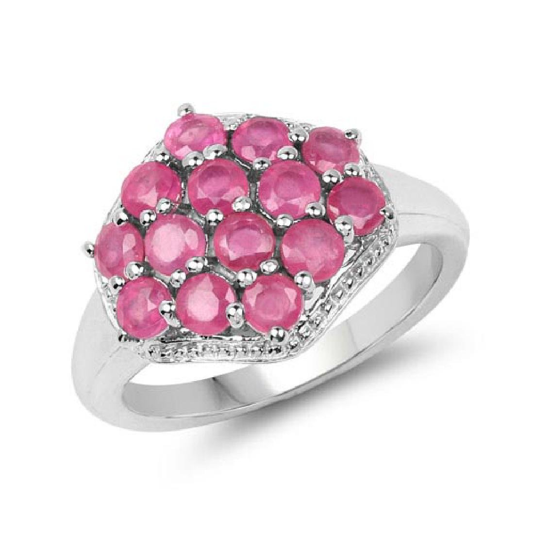 1.82 CTW Glass Filled Ruby .925 Sterling Silver Ring