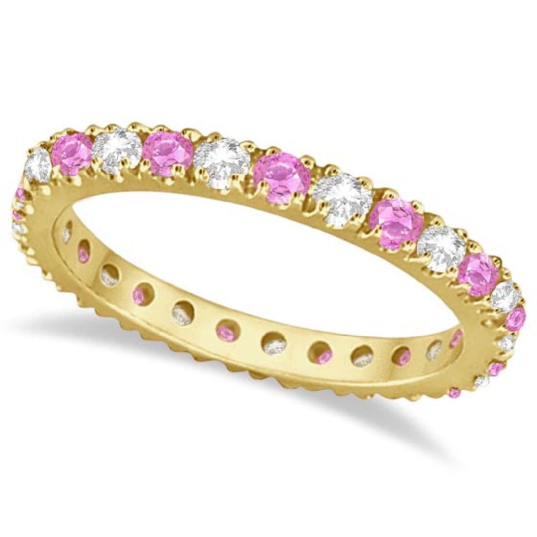 Diamond and Pink Sapphire Eternity Ring Stackable 14k Y