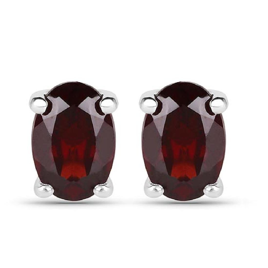 1.02 CTW Genuine Garnet .925 Sterling Silver Earrings