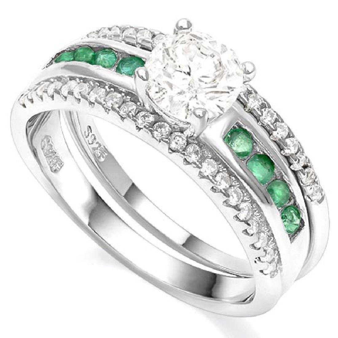 WHITE TOPAZ & 1/3 CTW EMERALD 925 STERLING SILVER RING