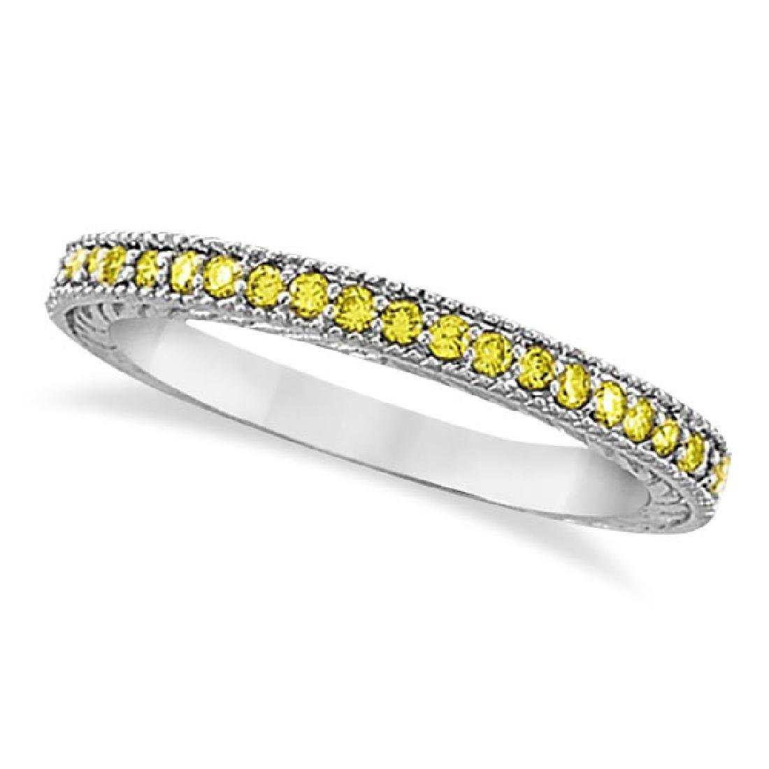 Fancy Yellow Canary Diamond Stackable Ring Band 14Kt Wh
