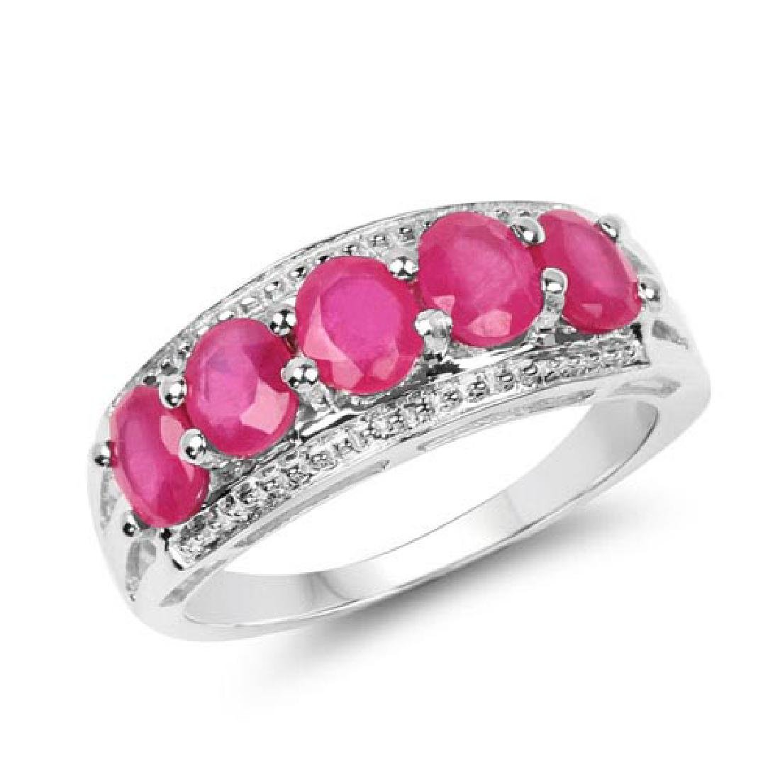 1.90 CTW Glass Filled Ruby .925 Sterling Silver Ring