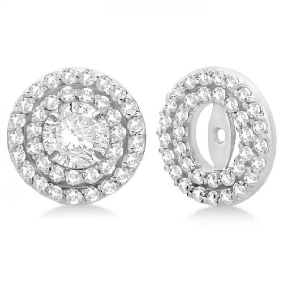 Double Halo Diamond Earring Jackets for 9mm Studs 14k W