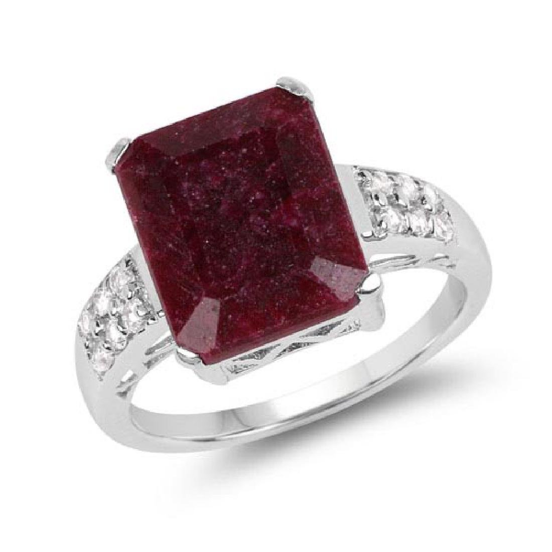 7.34 CTW Dyed Ruby and White Topaz .925 Sterling Silver