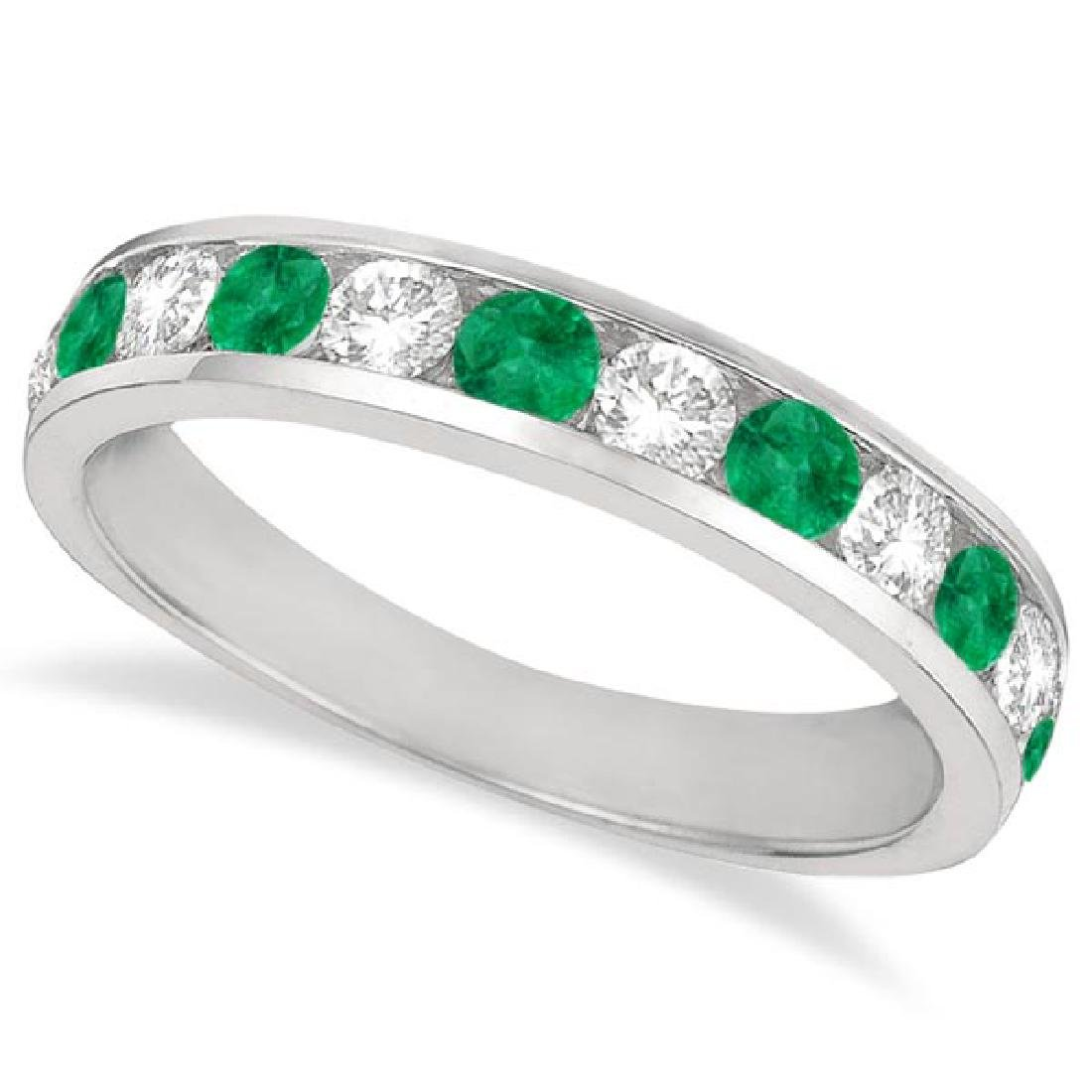 Channel-Set Emerald and Diamond Ring Band 14k White Gol