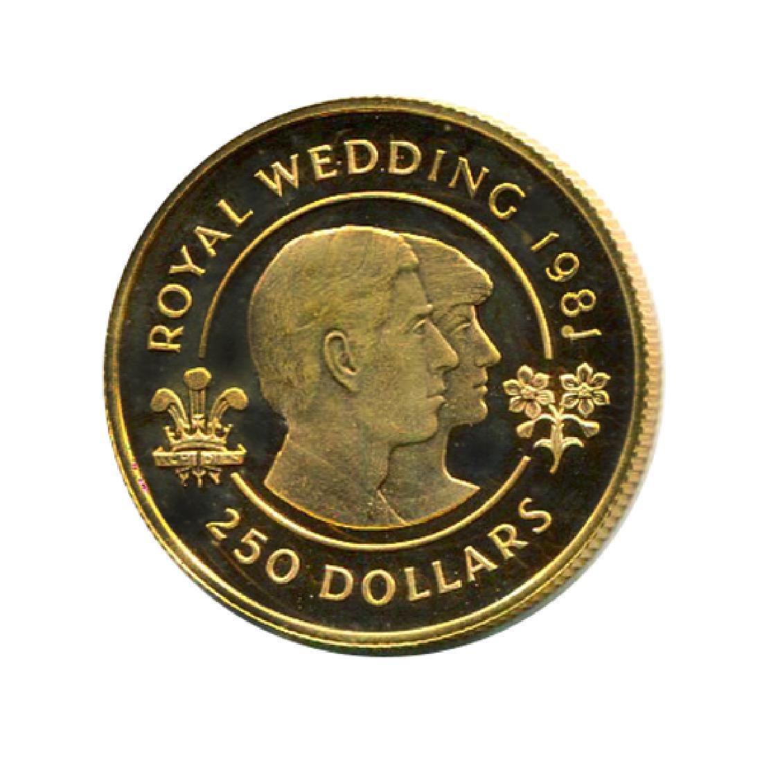 Bermuda $250 Gold PF 1981 Royal Wedding