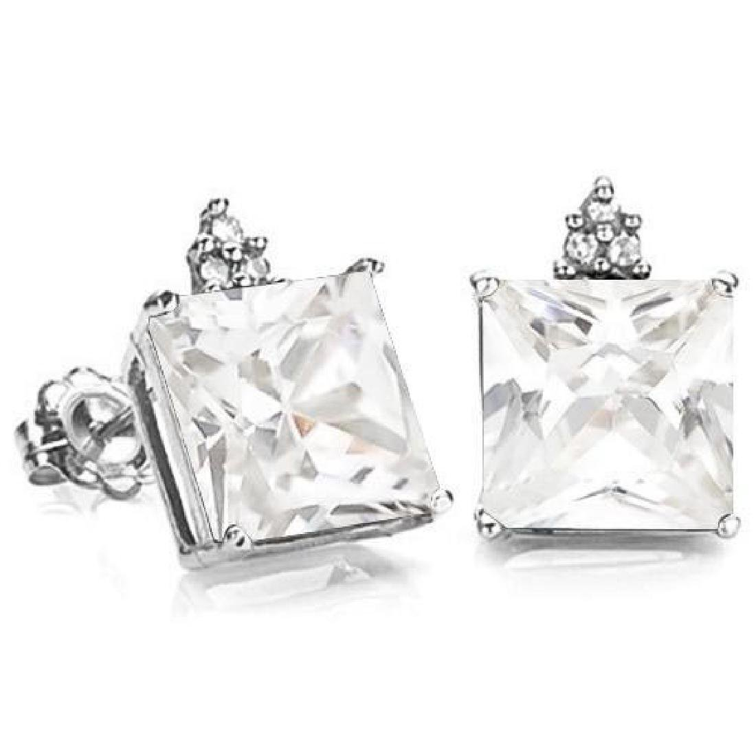 3.7 CARAT CZ 10K SOLID WHITE GOLD SQUARE SHAPE EARRING